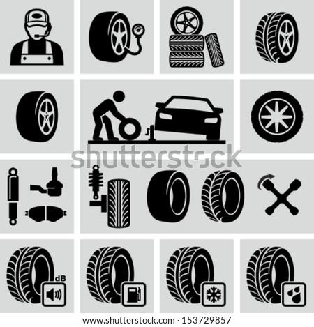 Tires icon - stock vector