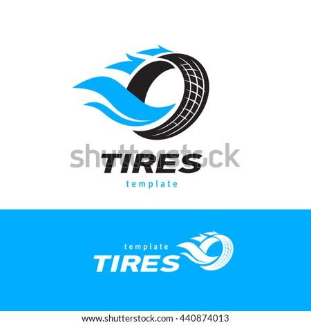 Tires logo design template, silhouette wheel vector - stock vector