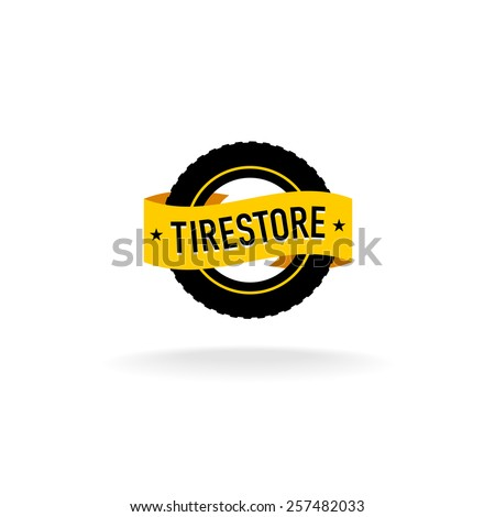 Tires store logo. Black tire silhouette with orange ribbon with text. - stock vector