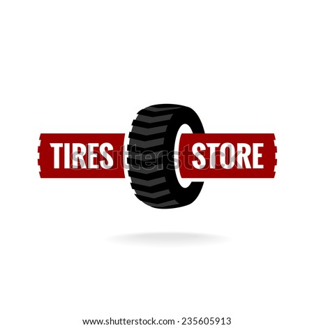 Tires store logo template - stock vector