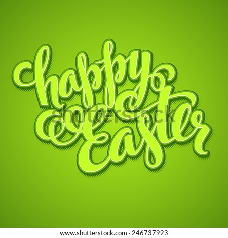 Title Happy Easter. Hand  drawn lettering - stock vector