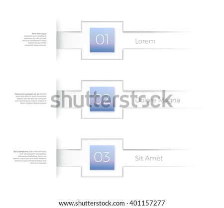 Title List layout Template with Blue Number Boxes - stock vector