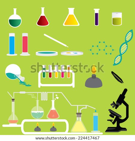 Title: Set of Science Chemicals Research and Experiment Laboratory Vectors and Icons Description: Set of many Science Chemicals Research and Experiment Laboratory Vectors and Icons - stock vector