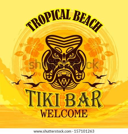 Tki Bar / Tropical Beach - stock vector