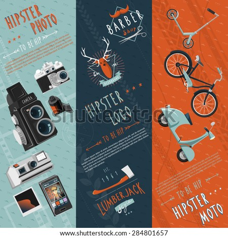 To be hip concept flat banners set with hipster motor logo and photo pictograms abstract vector illustration - stock vector