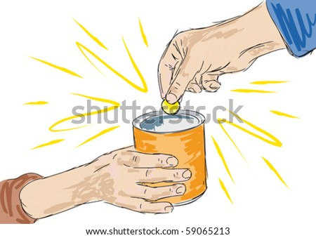 to charity - stock vector