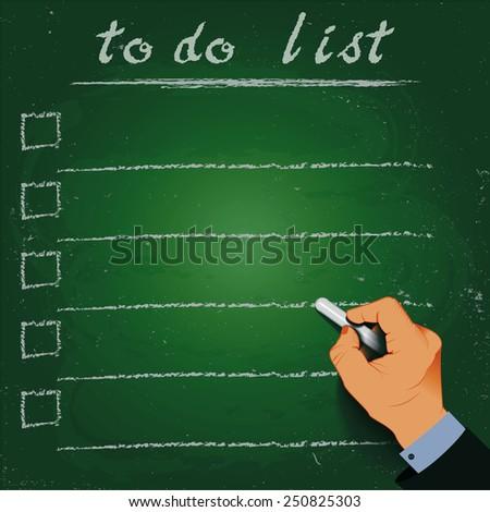 To do list chalk on a blackboard, 3d hand. EPS10 - stock vector