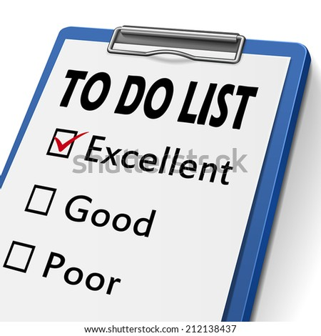 to do list clipboard with check boxes marked for excellent, good and poor - stock vector