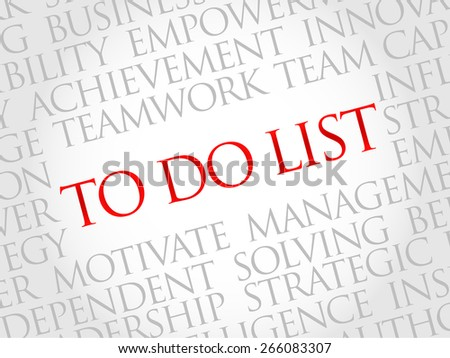 To Do List word cloud, business concept - stock vector