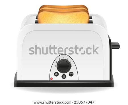 toast in a toaster vector illustration isolated on white background - stock vector