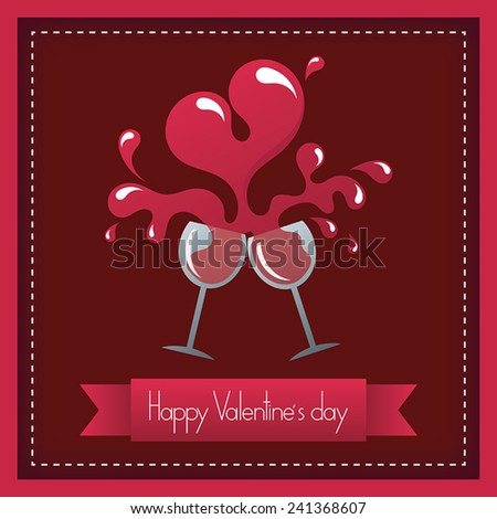 Toast to happy valentine's day and heart shape wine - stock vector