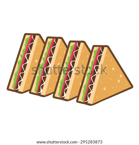 Toast Triangle Vegetables Sandwiches on White Background Vector Icon Illustration - stock vector
