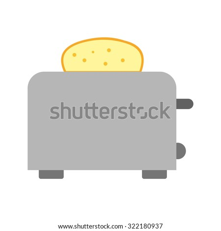 Toaster, toast, breakfast icon vector image. Can also be used for household objects. Suitable for use on web apps, mobile apps and print media. - stock vector