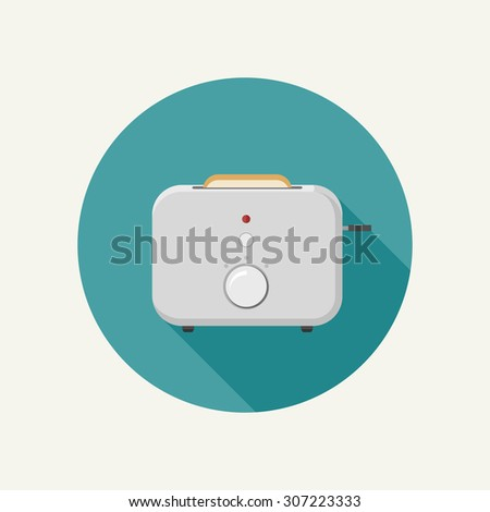 Toaster vector illustration with a piece of bread on round button. - stock vector