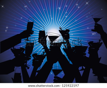Toasting Hands at party EPS 8 vector, no open shapes or paths. - stock vector