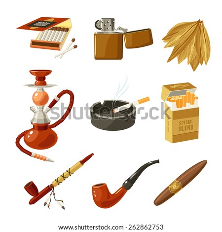 Tobacco and smoking decorative icons set with matches lighter cigarette pack isolated vector illustration - stock vector
