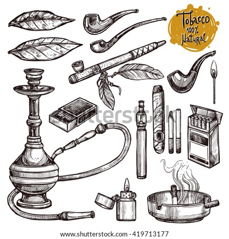 Tobacco And Smoking Sketch Set. Hand Drawn Cigarettes, Cigars, Hookah, Matches, Tobacco Leaves, Ceremonial Pipe And Smoking Accessories - stock vector