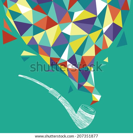 Tobacco Pipe and Smoke - stock vector