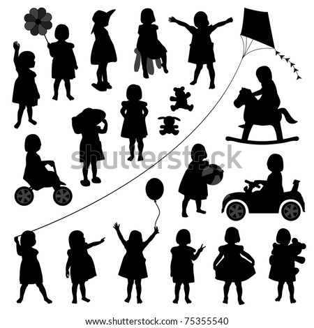 toddler child children baby girl kid silhouette playing happy activity - stock vector