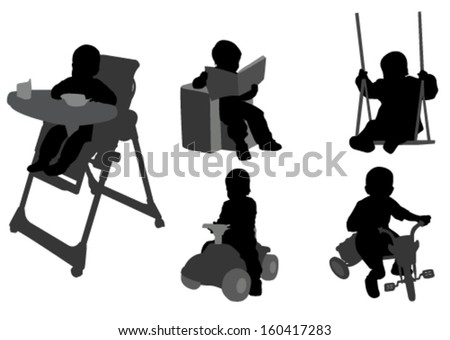 toddlers silhouettes 3 - stock vector
