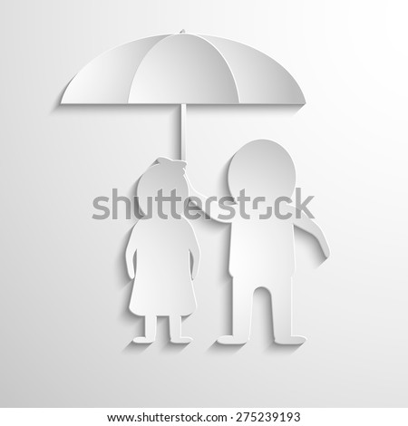 Together Under Umbrella. Man and woman from the white paper. Vector symbol - stock vector