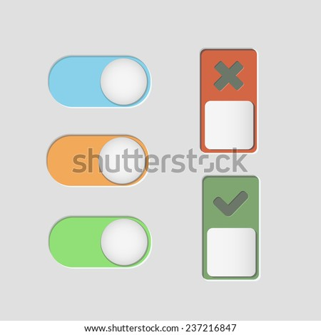 toggle switch icons and check mark vector - stock vector