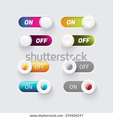 Toggle switch icons. On and Off position and Check Mark Flat web design elements. Template for app and website. Vector illustration  - stock vector