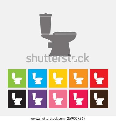 Toilet bowl icon - Vector - stock vector