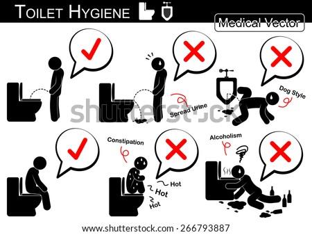 Toilet Hygiene ( Stick man vector ) infographic - stock vector