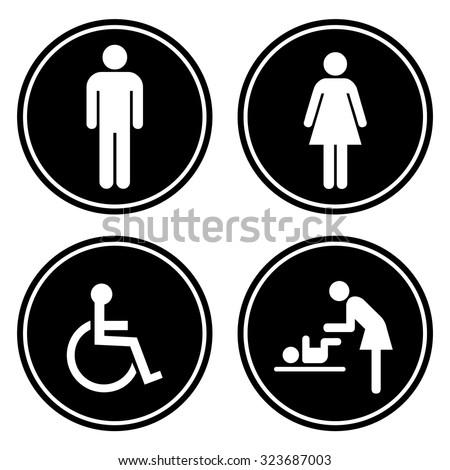 Toilet icon set . Vector illustration - stock vector