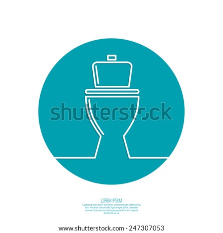 toilet icon, wc, blue background. Vector illustration eps 10. minimal. Outline. - stock vector
