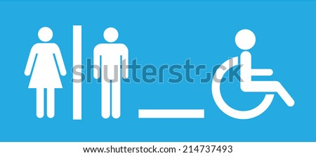 Toilet icons - male, female & disabled icons. Vector illustration eps10. - stock vector