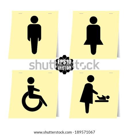 Toilet Man Sign, Women Sign, Baby Changing Sign, Handicap Sign - vector - stock vector