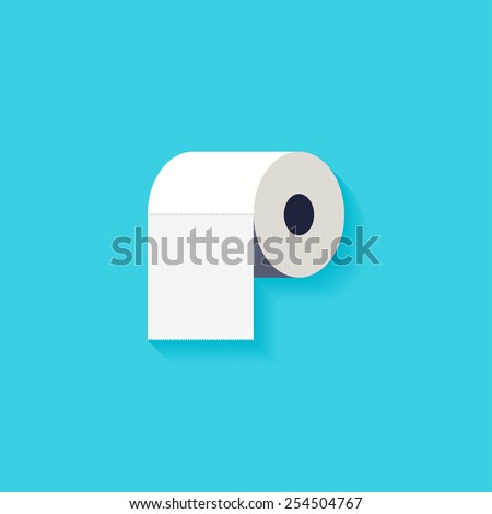 Toilet paper flat icon. Modern flat icons vector collection with long shadow effect in stylish colors of web design objects. Trendy Flat Style. Isolated on blue background. Flat design. EPS 10. - stock vector