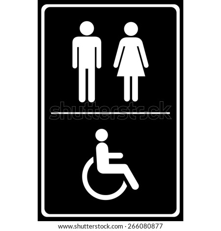 Toilet sign with black background, Man sign, Women sign, Handicap Sign, EPS10 Vector - stock vector