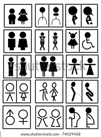 toilet signs - stock vector