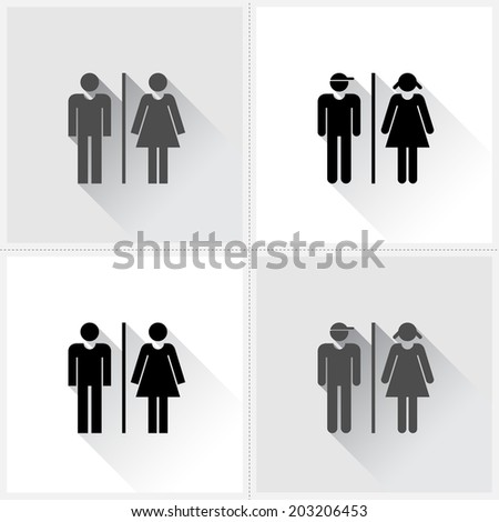 Toilet signs - set of male & female icons as toilet or restroom signs - stock vector