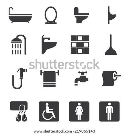 Toilet Silhouette icons       ???????????????????     ?????????? ?    Toilet Silhouette icons - stock vector