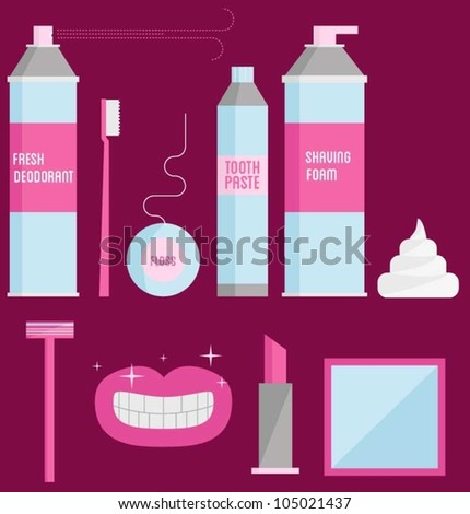 Toiletries - stock vector