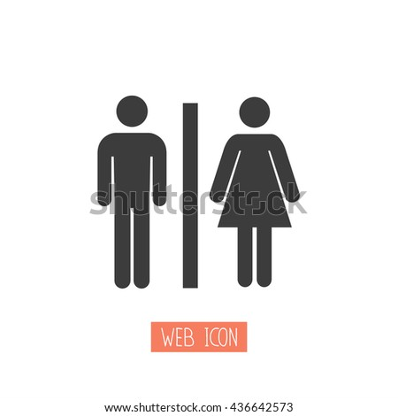 Toilets vector icon. Style is flat rounded symbol, black color, rounded angles, white background. - stock vector