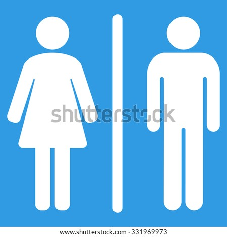 Toilets vector icon. Style is flat symbol, white color, rounded angles, blue background. - stock vector