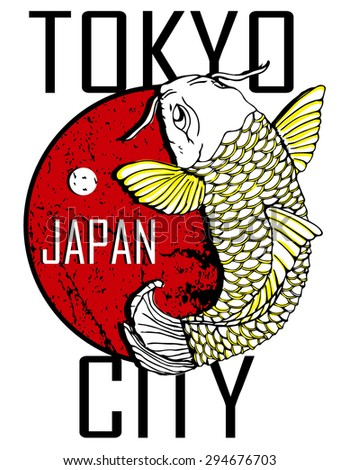 Tokyo City and Gold Fish Poster Design - stock vector