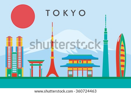 Tokyo city skyline Vector illustration. Colorful Background. Great Concept Design - stock vector