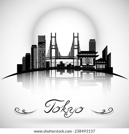 Tokyo city skyline with reflection. Typographic Design - stock vector