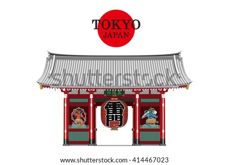 TOKYO,JAPAN,Kaminarimon vector Illustration(red and white).Kaminari-mon (Thunder-Gate) is an outer gate of Senso-ji Temple. kaminarimon is a famous tourist attraction of Asakusa in Tokyo,Japan. - stock vector