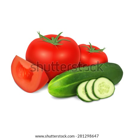 Tomato and cucumber isolated on white. High quality vector. EPS10 vector - stock vector