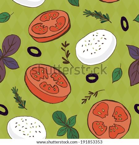 Tomato and mozzarella seamless pattern - stock vector