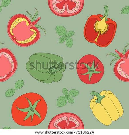 tomato and paprika seamless pattern - stock vector