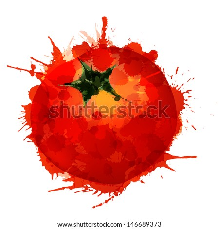 Tomato made of colorful splashes on white background  - stock vector