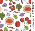 Tomato soup seamless pattern - stock vector